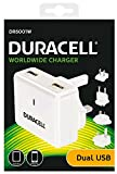 Duracell 3.4A 2-Port USB Reiseladegerät für Tablet/Smartphone, Eingang 100-240V mit 4 Austauschbare Wandstecker (EU/UK/US/AU)