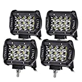 LED Arbeitsscheinwerfer, LTPAG 4 x 72W Zusatzscheinwerfer 4 Zoll 14400LM 6000K IP68 Wasserdicht 3 Reihen Arbeitsscheinwerfer LED Scheinwerfer Offroad Flutlicht mit 48 LEDs Zusatzscheinwerfer
