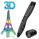 3D Drucker Stift Set,Aerb Intelligent 3D Printing Pen kompatibel mit Pla/ABS Filament  2 frei 1,75 mm Filament-Minen, Bestes Geschenk für DIY-schwarz(Sunlu Version)