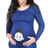 Gagacity Umstandskleidung Lustig Witzige Umstands T-Shirt Umstands-Oberteil Langarm für Schwangere