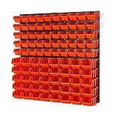 94 teiliges Wandregal Lagerregal Werkzeugwand Stapelboxen Wandplatten orange POP Serie Gr.1 Gr.2 Werkstatt Lager