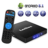 Android 8.1 TV Box【4G+64G】- Leelbox Smart TV Box Q4 MAX, Quad Core 64 Bit Android Box Wi-Fi integrato/BT 4.1/ Box TV UHD 4K TV/USB 3.0 Media Player, Android Set-top-Box (Q4 MAX)