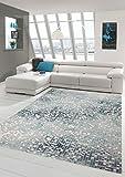 Traum Teppich Designerteppich Moderner Teppich Wohnzimmerteppich Kurzflor mit Konturenschnitt Kariert in Grau Türkis Weiß, Größe 120x170 cm