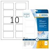 Herma 4412 Namensetiketten ablösbar (80 x 50 mm) weiß, 250 Namensaufkleber, 25 Blatt DIN A4, selbstklebende Textil-Namensschilder bedruckbar