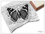 Stempel - XL Motivstempel VINTAGE BUTTERFLY Schmetterling mit alter Handschrift - Eleganter Bildstempel für Ihr eigenes Design - von zAcheR-fineT