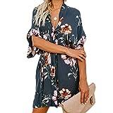 Ajpguot Damen Sommerkleid V-Ausschnitt Blumenkleid Kurze Ärmel Blusenkleider Lose Strand Mini Kleider mit Gürtel (101032 Blaugrau, XL)
