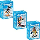 PLAYMOBIL Family Fun 3er Set 9284 9287 9288 Skifahrer mit Snowblades + Biathletin + Skirennläufer