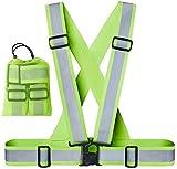 Xcelenze - Premium Warnweste / Reflektorweste / Sicherheitsweste gelb, elastisch, größenverstellbar und extra breiter Gurt für mehr Sichtbarkeit beim Joggen, Fahrrad und Motorrad fahren + Tasche