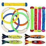 Tauchen Spielzeug Unterwasser Schwimmen Tauchen Pool Spielzeug Ringe 3 Stück Algen Tauchen Sticks 4 Stück toypedo Banditen und 6 Stück unter Wasser Schätze Geschenk Set Bundle (classic style)