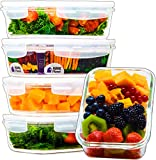 Home Planet Einzelfach 840ml Glas Frischhaltedosen (5er Set) | BPA Frei Luftdicht klick Lock Deckel | Mikrowelle und Gefrierschrank Dosen | Meal Prep Bento Boxen