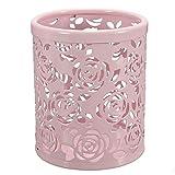 FRE Feder-Bleistift-Pot-Halter-Organisator Hohle Rose Blumen, Muster, Metall Pink