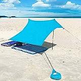XISHUAI Strandzelt mit Sand Anker - Portable Strandmuschel uv Schutz mit 100% Lycra - Sonnensegel für 2-4 Personen 210 X 210 cm für Strand Camping Wandern Angeln Picknick (Blau)