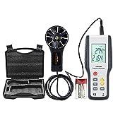 ERAY Professionelle Anemometer Digital Windmesser Windmessgerät mit Hintergrundbeleuchtung LCD-Anzeige, Koffer und Batterie, Hohe Genauigkeit und Empfindlichkeit