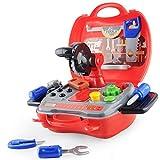 E T Kinder Werkzeug Werkzeugkoffer Kinder Spielzeug Pädagogisches Lernspielzeug Kleine Geschenke für Kinder ab 2 3 Jahren 19 Stücke