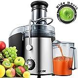 Aicok Entsafter Edelstahl mit 75 mm großer Einfüllöffnung, 800W Juicer für Obst und Gemüse, 2 Geschwindigkeitsstufen, Inkl. 1,1 L Saftbehälter, 2 L Restbehälter und Reinigungsbürste