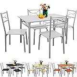 Sitzgruppe für Esszimmer Küche & Balkon  5 tlg - 4 Stühle & 1 Tisch  Tischgruppe Essgruppe Esstischgruppe Balkonmöbel Balkon Sitzgruppe  Modellauswahl - Samtweiß