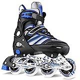 Inline Skates Erwachsene verstellbar Damen/Herren Inline Skates Rollschuhe PU Verschleißfeste Rollerblades Erwachsene 41-44, Blau-Schwarz