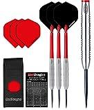 Red Dragon Hell Fire B: 24g - 80% Tungsten Steel Darts Set (Steel Dartpfeile) mit Flights, Schäfte, Brieftasche Checkout Card