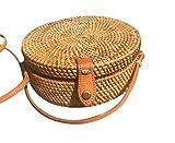 Korbtasche Rattan Tasche rund, Made in Bali, Bag round, Korbtasche, Handmade, Premiumware, Hochwertig (Rattan-Brau)