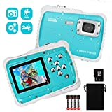 DECOMEN Unterwasser Kamera für Kinder 12MP HD Mini Action Camcorder Kinderkamera 2.0 Zoll LCD Bildschirm Anzeige/8GB Speicherkarte & Batterien Spielzeug und Geschenk für Kinder