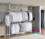 Cocoarm Teleskop Garderoben System Kleideraufbewahrungssystem Regalsystem Garderoben System Verstellbares Ordnungssystem 3 Stangen, 4 Querträger, Höhe verstellbar 160-320 cm