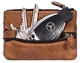 Hill Burry Echt-Leder Schlüsseletui | Schlüsselmappe mit Münzfach | Schlüsseltasche - Schlüsselanhänger - Mini Börse | Kredit-Kartenetui - Portemonnaie - Portmonee | Schlüsselbörse (Braun)
