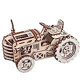 ROBOTIME Mechanischer Traktor 3D Holzpuzzle Laser-Cut für die Selbstmontage ohne Kleber - Holz Modellbau Bausatz - Rätsel für Kinder, Jugendliche und Erwachsene