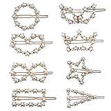 Perle Haarspange 8 Stücke Haarklammern Haarclips mit Creme Perlen und Gold Metall Haarspangen Set für Frauen Damen Mädchen Haarschmuck für Hochzeit und Alle Gelegenheiten