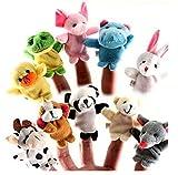 Twister.CK Fingerpuppen, Baby Story Time Requisiten, 10 Stück Tier Style Soft Samt Puppen Requisiten Lernspielzeug für Baby Kinder