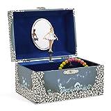 JewelKeeper Spieluhr Schmuckkästchen für Mädchen mit drehender Fee und Stern Design in Blau und Weiß - Schwanensee Melodie
