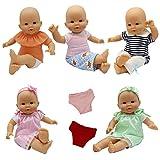 ZITA ELEMENT 9 Stk. Puppenkleidung Bekleidung Zubehör für 35-46cm Babypuppe Puppen Kleider Unterwäsche Stirnband Oberteil Hosen Puppenkleid Outfits