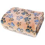 Allisandro Hundedecke Flaushige Decke(100x80cm) Super Softe und Warme Katzendecke Schlafdeck Niedlicher Klauendruck L, Coffee
