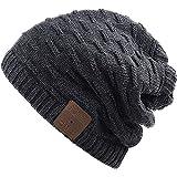 Rotibox Waschbar Winter-Unisex Hat Bluetooth Beanie Short Skully Cap mit Bluetooth-Stereo-Kopfhörer Mic Hands Gitter Akku für Skifahren Wandern Laufen