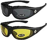 2er Pack Choppers 911 Sonnenbrillen Motorradbrille Sportbrille Radbrille - 1x Modell 01 (schwarz / schwarz getönt) und 1x Modell 03 (schwarz / gelb getönt) - Modell 01 + 03 -
