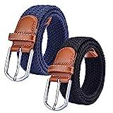 Chalier 2 Pack Damen Elastischer Stoffgürtel Geflochtener Stretchgürtel Dehnbarer Gürtel, Black & Navy, Einheitsgröße