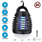 Sunvook Elektrischer UV Insektenvernichter 2-in-1 Mückenfalle Elektrisch IPX6 Wasserdicht Mückenlampe LED mit 2200mAh Silica Gel Anti-Fall USB Wiederaufladbarer Indoor Outdoor mit Einziehbarem Haken