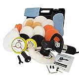 Kingbarney XL Profiset - Exzenter Poliermaschine/Polierer inkl. Koffer 710 Watt Set 2 + Polierschwamm Zubehörset - 26 Teile - Schleifmaschine - Auto polieren