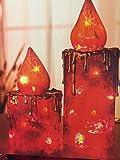 2 er Kerzenset mit Beleuchtung für draußen und drinnen Weihnachten Kerzen Advent beleuchtet Deko Garten