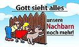 Fanshop Lünen Fahne - Flagge - Gott Sieht Alles - unsere NACHBARN noch mehr - 90x150 cm - Hissfahne mit Ösen -