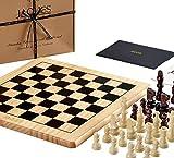 Jaques of London Schachspiel komplett mit Figuren - Qualität Schachbrett und Jaques Staunton Schachfiguren - Jaques Schach Qualität seit 1795