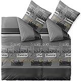 CelinaTex Fashion Bettwäsche 135 x 200 cm 4teilig Baumwolle Crazy Wörter Streifen Grau Schwarz Weiß