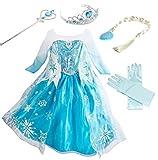YOGLY Mädchen Prinzessin Elsa Kleid Kostüm Eisprinzessin Set aus Diadem, Handschuhe, Zauberstab, Größe 110,  07 Kleid und Zubehör