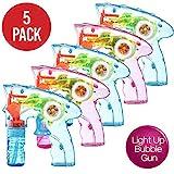 Prextex.com 5er-Packung aufziehbare Seifenblasenpistolen mit LED-Beleuchtung | Seifenblasenmaschine für drinnen und draußen | Spielzeug für Jungen und Mädchen ohne Batterien