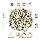 124 Stücke Total Holz Große Buchstaben Holz Kleinbuchstaben Hölzerne Zahlen für Kunst Handwerk DIY Dekoration Anzeigen
