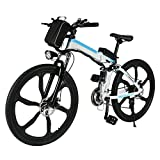 Elektrofahrrad Mountainbike, 26 Zoll Faltbar E-Bike mit 21-Gang Getriebe, 36V 8AH Lithium-Akku, 250W Hochgeschwindigkeits-Bürstenlose Heckmotor (Weiß&Blau-1)