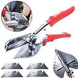 QISF Gehrungsschere/Dichtungsschere/Schneiden & Scheren Werkzeug, 45-135 Grad SK5 Stahlklinge mit 10 X SK5 Stahlklinge für Kunststoff und Gummiprofile