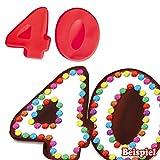 Backformen-Set Zahl 4 und 0 für 40. Geburtstag / Hochzeitstag, Silikonbackformen
