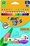 Bic Kids ECOlutions Evolution Buntstifte / Dreikant Farbstifte für Kinder ab 2 Jahren / Ergonomisch / Fördert richtige Handhabung / Bruchsichere Mine / Ohne Holz / Buntstifte Set mit 12 Buntstiften