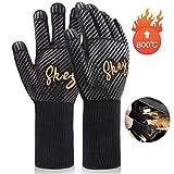 SKEY Grillhandschuhe Ofenhandschuhe Grill Handschuhe Hitzebeständige bis zu 800 ° C Universalgröße Kochhandschuhe Backhandschuhe für BBQ Kochen Backen und Schweißen-Klassisch Schwarz