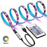 WEKNOWU USB LED TV Hintergrundbeleuchtung, 2m LED Strip Kit mit Fernbedienung, LED Band Lichter 2m für 40-60 Zoll TV - 16 Farben SMD 5050 LEDs Ambiente Beleuchtung für HDTV (IR Fernbedienung)